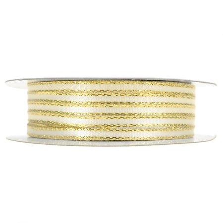 Decorative Ribbon Trim - Double Faced Gold Trim Satin Ribbon, Ivory, 1/8-Inch, 50-Yard