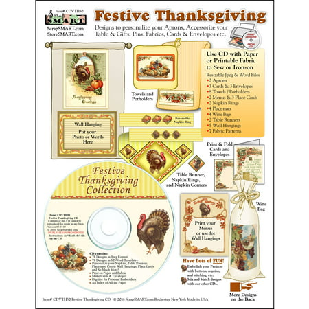 ScrapSMART Festive Thanksgiving Collection CD-ROM: Fabrics, Cards and Envelopes