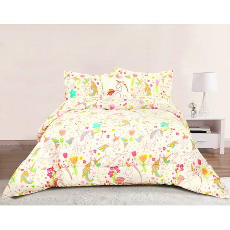 Polka Dots Girls Bedroom (Unicorn Girls Bedding Full/Queen 4 Piece Comforter Bed Set, Pastel Heart Floral Polka Dot )