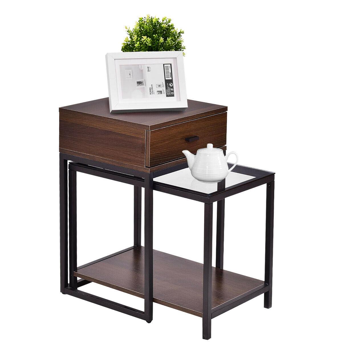 Gymax 2 Pc Metal Frame Wood Glass Top Nesting Table Coffee Table Side End Table Walmart Com Walmart Com