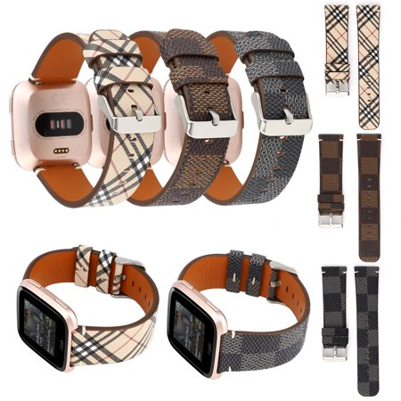 EEEKit Compatible for Fitbit Versa Bands, Leather Band Replacement  Wristband Men Women Smart Watch Accessory Strap for Fitbit Versa / Versa Lite (21 Leather Watch Strap)