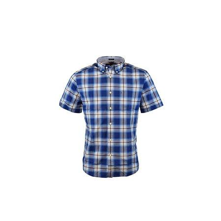 Men's Tommy Hilfiger Plaid Button Down Short Sleeve Shirt (M) W7