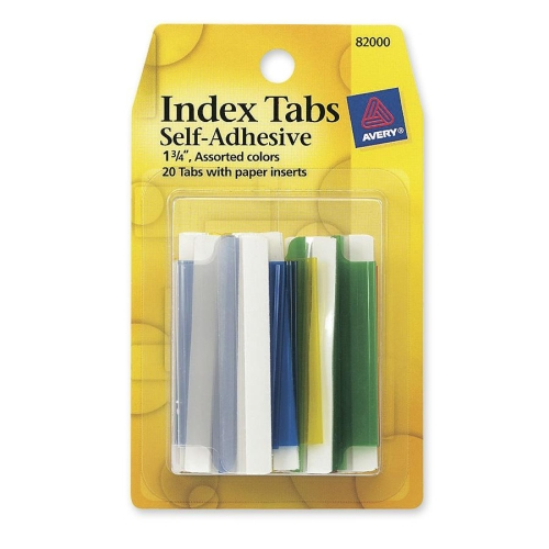 Avery(R) Index Tabs with Writable Inserts 82000, 20 Assorted Tabs, 1-3/4""