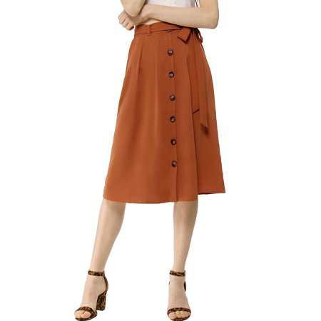 Women's Button Front High Waist Belted Flare Skirt (Size XL / 18) Brown Two Button Womens Skirt Suit