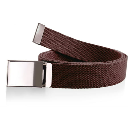 Canvas Web Belt Military Grade Cotton Flip-Top Metal Clamp Buckle Cut-To-Fit Burgundy 56 Inch