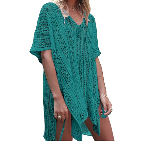 b937ed75af HIMONE - Women Hollow Out Beach Swimsuit Cover ups Tassel V Neck Loose  Knitted Bikini Bathing Suit Summer Swimwear Crochet Dress - Walmart.com