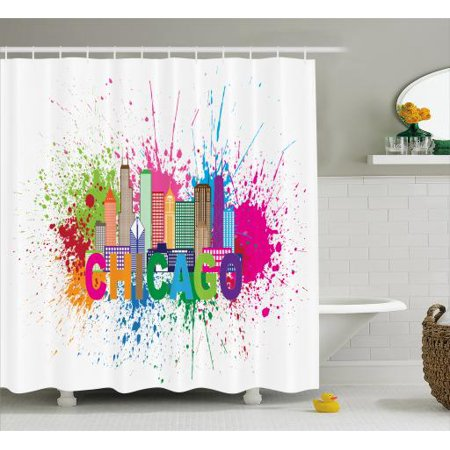 Chicago Skyline Shower Curtain Splash Of Colorful Paint Background With Text And Cityscape