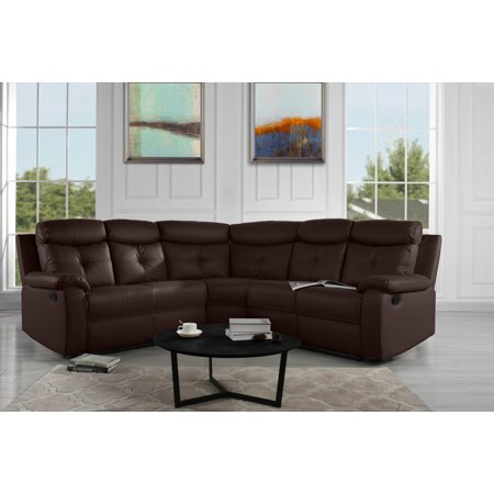Large Classic Bonded Leather Reclining Sectional Sofa Dark Brown