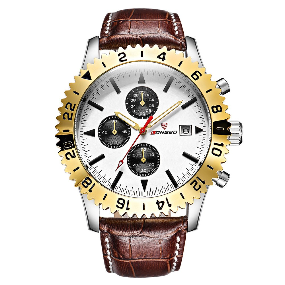 Men Fashion Waterproof Noctilucence Round Black Watch-frame Brown Leather Watchband Swimming Sports Watch by