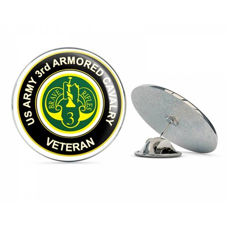 "U.S. Army Veteran 3rd Armored Cavalry Metal 0.75"" Lapel Hat Pin Tie Tack Pinback"