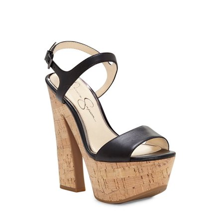 Jessica Simpson Divella Black Leather Platform Dress Sandals