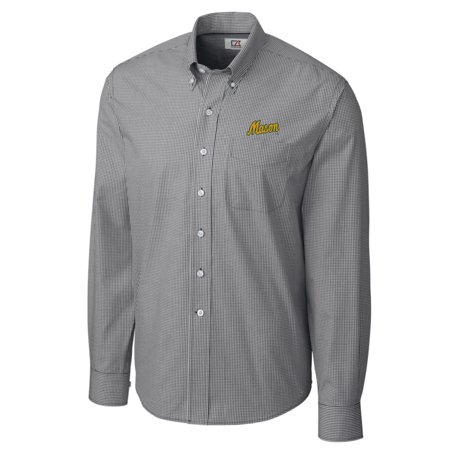 George Mason Patriots Cutter & Buck Big & Tall College Vault Epic Gingham Long Sleeve Button-Down Shirt - Charcoal