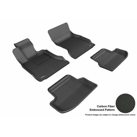 3D MAXpider 2014-2016 BMW 5 Series (F10) Front & Second Row Set All Weather Floor Liners in Black with Carbon Fiber Look