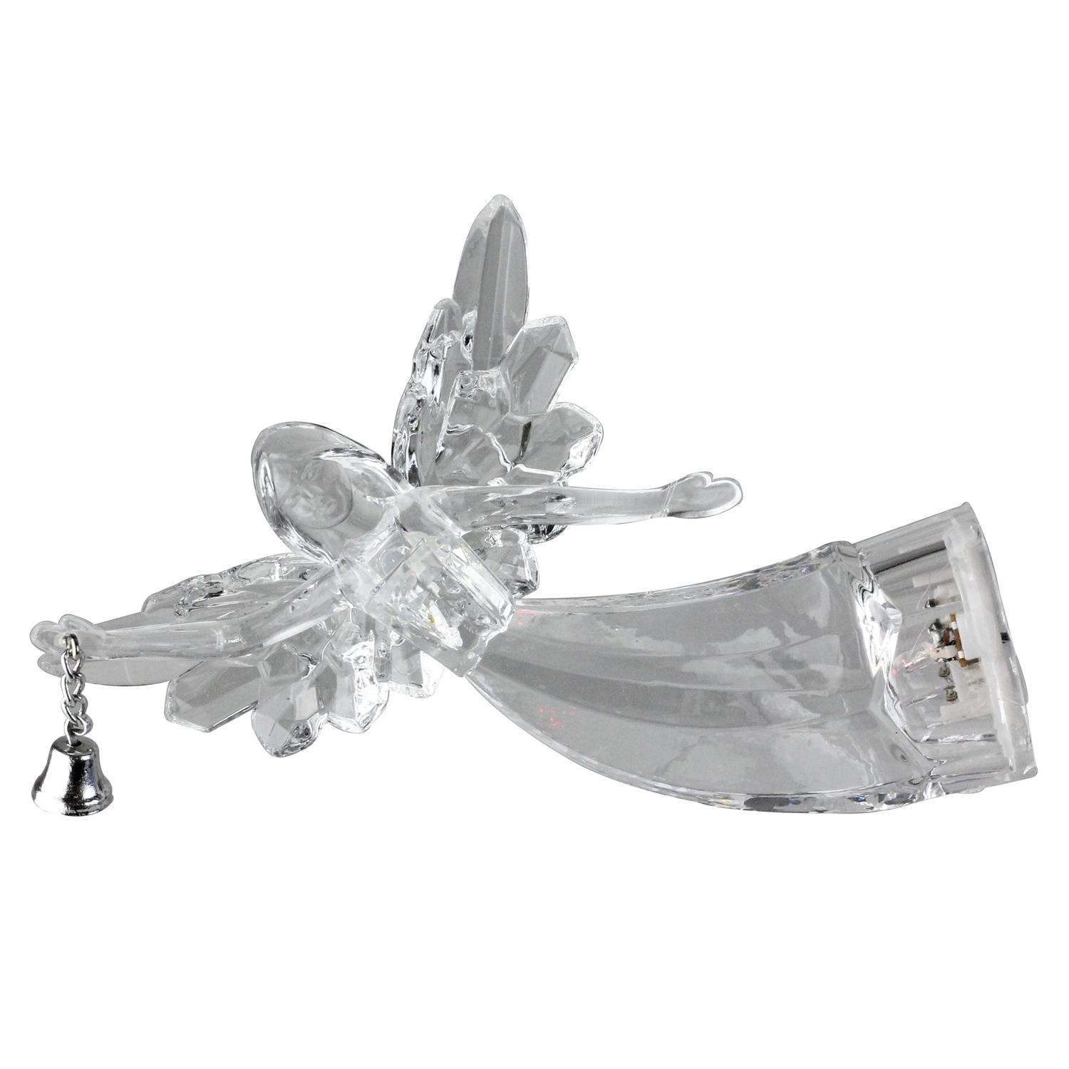 """Roman 5"""" Lighted Flying Angel with Bell Christmas Ornament - Clear"""