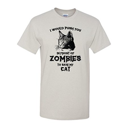 Zombie Cat Funny Halloween Kitty Humor Dead Walker Kitten Animal Graphic Pun Tee Adult Men's T-Shirt - Halloween Humour