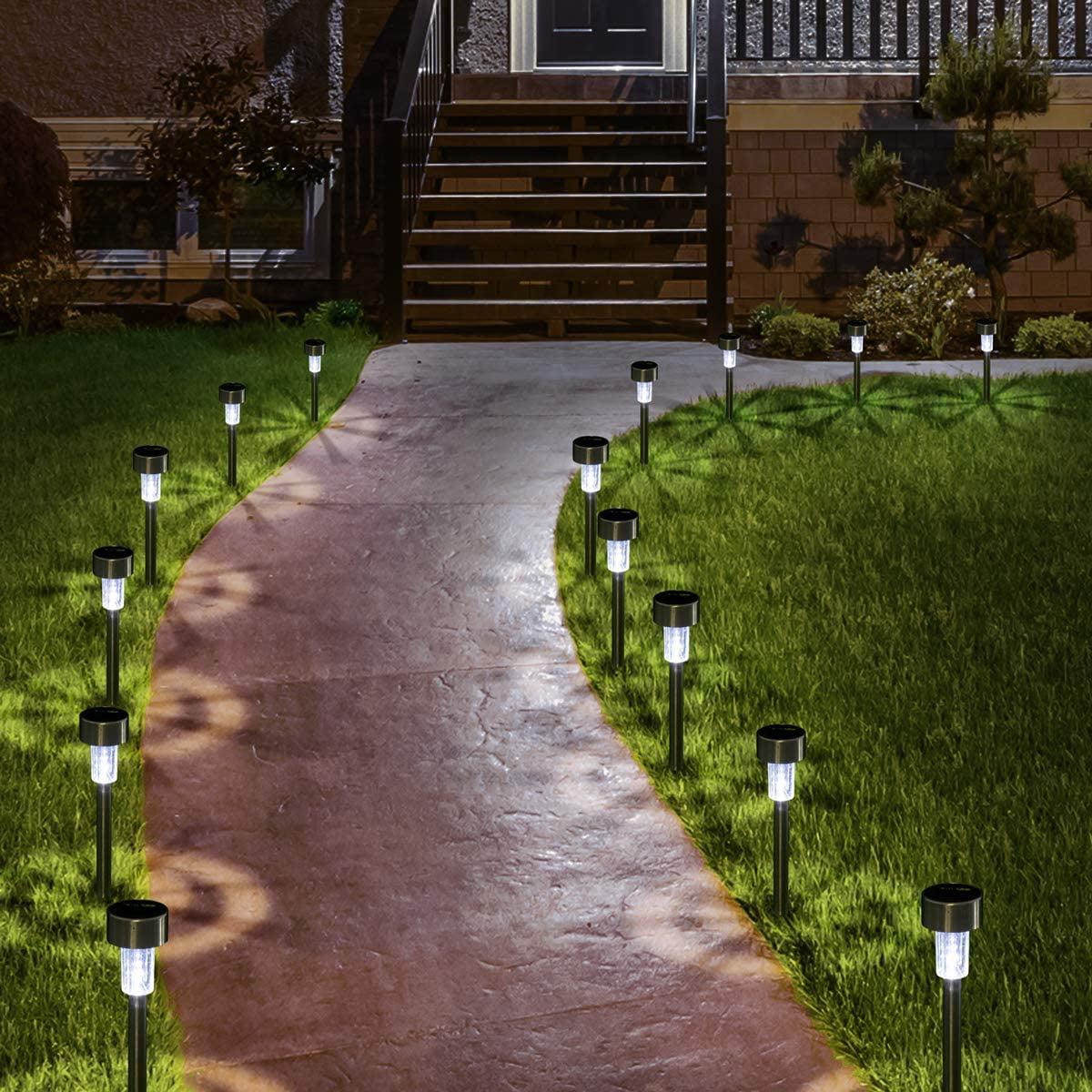 Stainless Steel Outdoor Solar Lights 12Pack Solar Lights Outdoor LED Solar Powered Landscape Lighting for Yard Patio Walkway Landscape In-Ground Spike Pathway Solar Garden Lights Waterproof