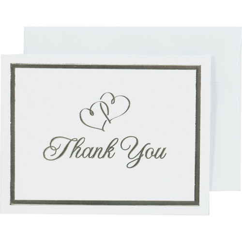 Wilton Thank You Cards, Silver Sweetheart 50 ct. 1010-160