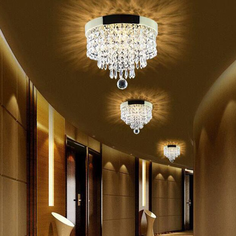Elegant Chandelier Crystal Drop Light Clear Ceiling Fixture For Living Room Fashionable Pendant Lamp Home Decoration by