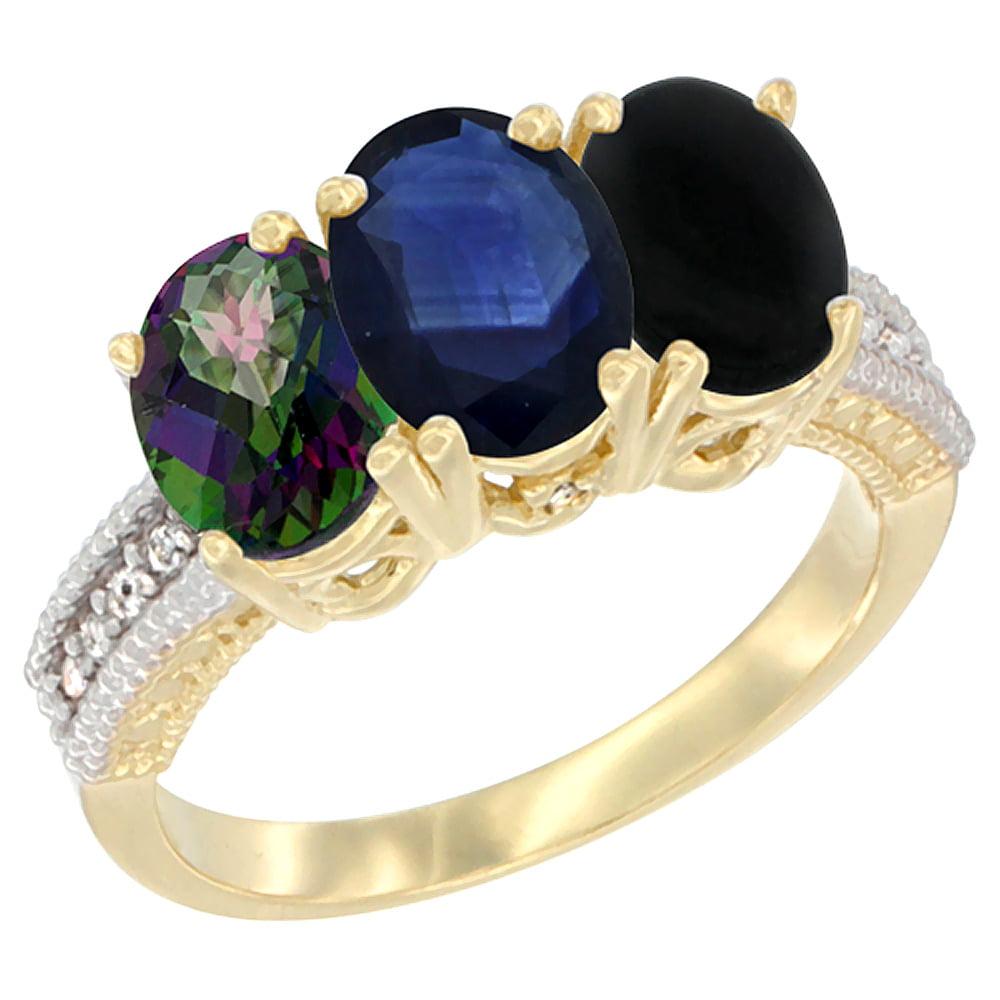 10K Yellow Gold Diamond Natural Mystic Topaz, Blue Sapphire & Black Onyx Ring 3-Stone 7x5 mm Oval, sizes 5 10 by WorldJewels