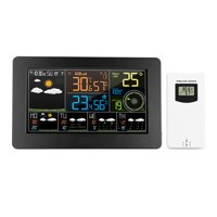 Multifunctional Color WiFi Weather Station with APP Control Smart Weather Monitor Indoor Outdoor Temperature Humidity Barometric Wind Speed Digital Clock with Outdoor Sensor