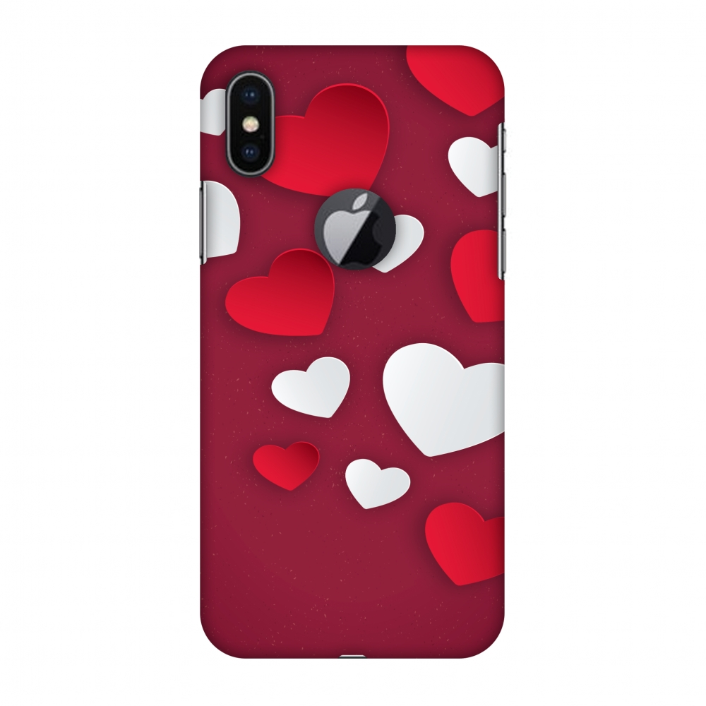 iPhone X Case, Premium Handcrafted Designer Hard Shell Snap On Case Printed Back Cover with Screen Cleaning Kit for iPhone X, Slim, Protective - Red & White Hearts