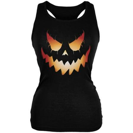 Halloween Evil Jack-O-Lantern Pumpkin Black Juniors Soft Tank Top (Nick Jr Shows Halloween)