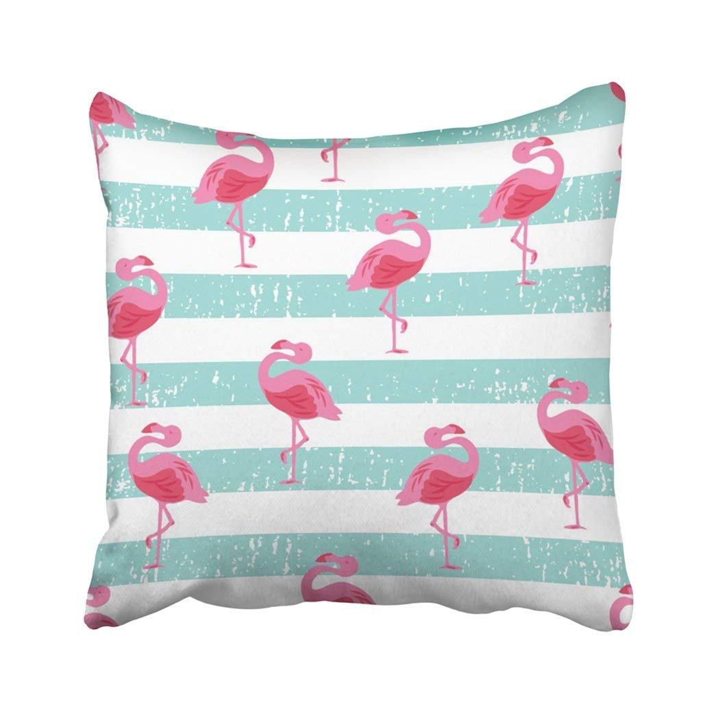 WOPOP Pink Teal Beachy Flamingo Bird Cute Surf Skate Bright Graphic Bathing Pillowcase Throw Pillow Cover Case 18x18 inches