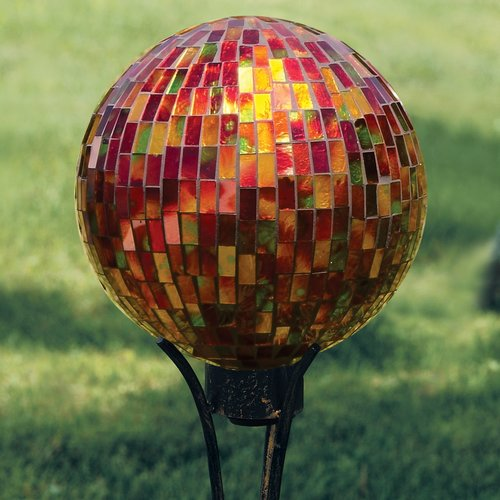 Carson Home Accents 65687 10 inch Gazing Ball Mosaic Red Hues by Carson Home Accents
