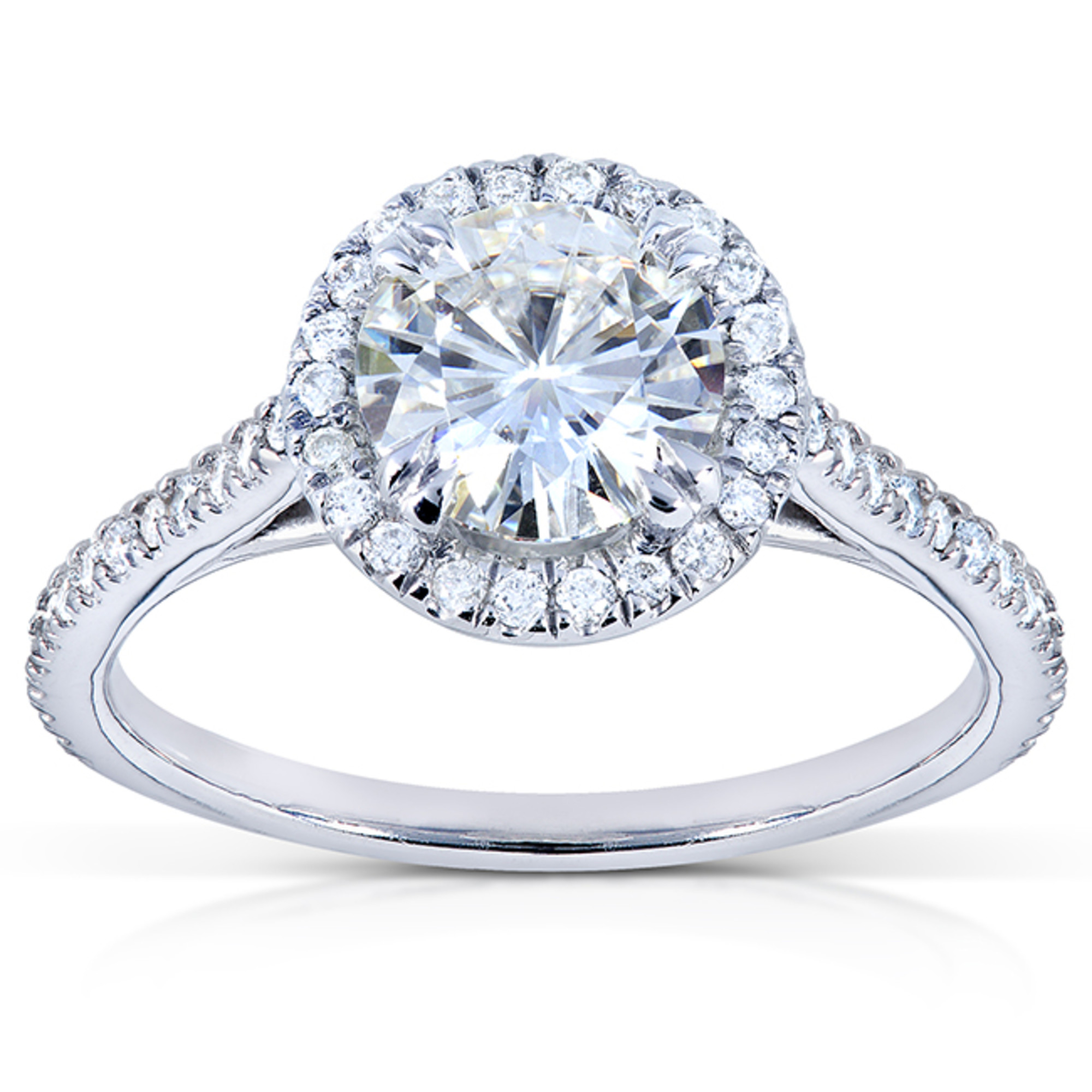 Round-cut Moissanite Engagement Ring with Diamond 1 1 4 CTW 14k White Gold (6.5mm) by