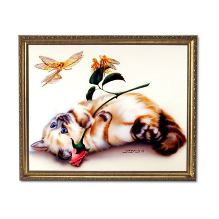 Cat Rose Butterfly Fairy Kids Room Wall Picture Gold Framed Art (Rose Gold Cat)
