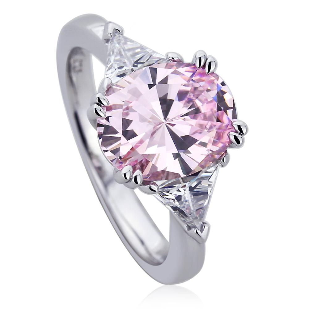 Platinum Plated Sterling Silver 2.5ct Oval Super Light Pink Cubic Zirconia Double Prong Cocktail Ring ( Size 5 to 9 ), 5 by