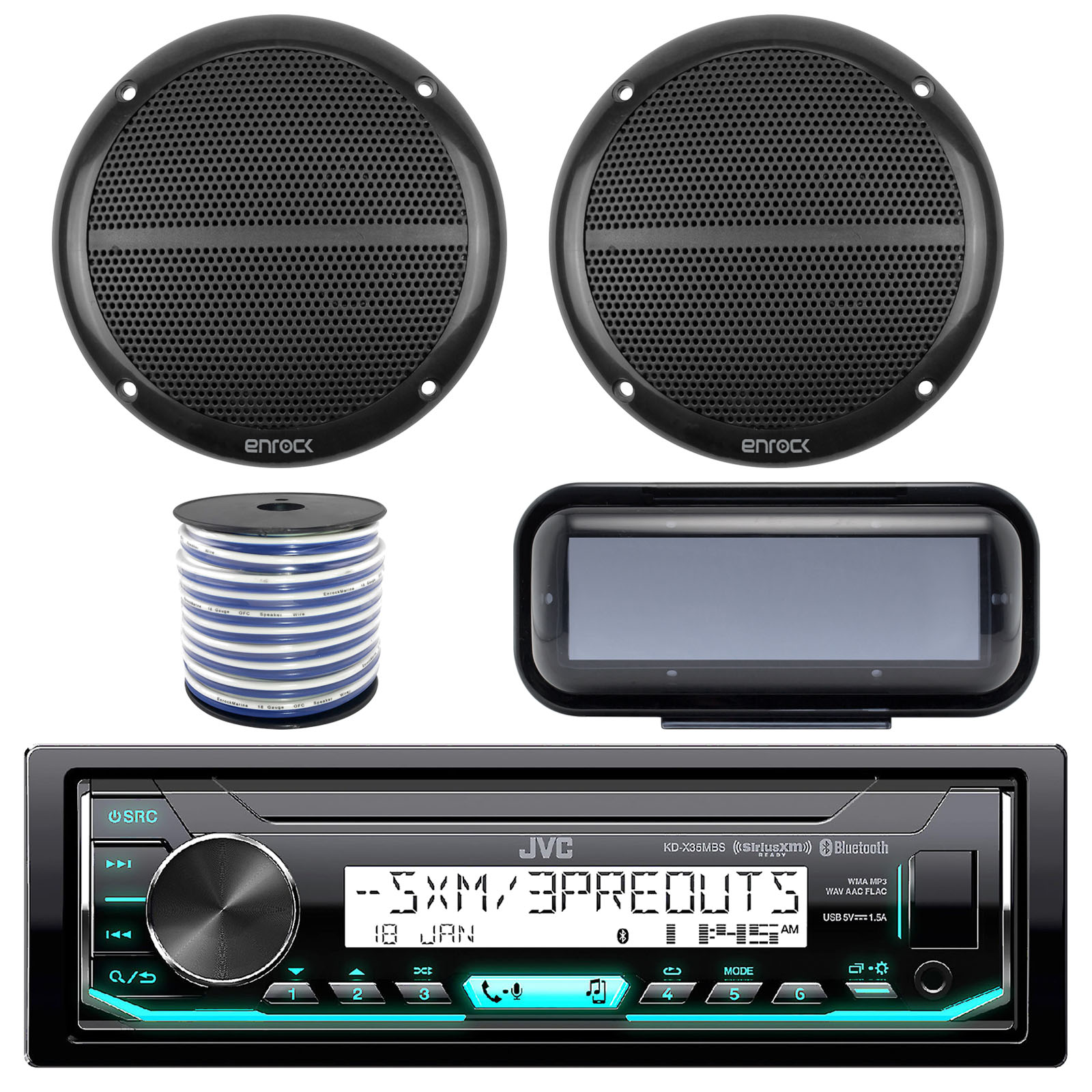 "JVC KD-X35MBS In-Dash Marine Boat Bluetooth Radio USB Receiver Bundle Combo With Pair Of Enrock EM602B 6.5"" Black Dual-Cone Stereo Speakers + Stereo Waterproof Cover + 18g 50FT Marine Speaker Wire"