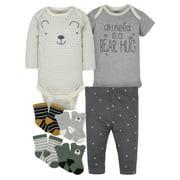 Gerber Baby Boy Organic Bodysuits, Pants & Wiggle-Proof Socks Bundle Set, 7-Piece