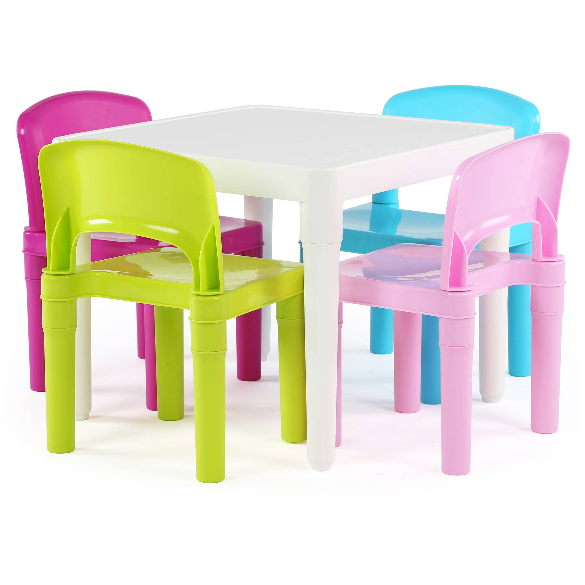 Tot Tutors Kids Plastic Table And 4 Chairs Set, Multiple Colors    Walmart.com