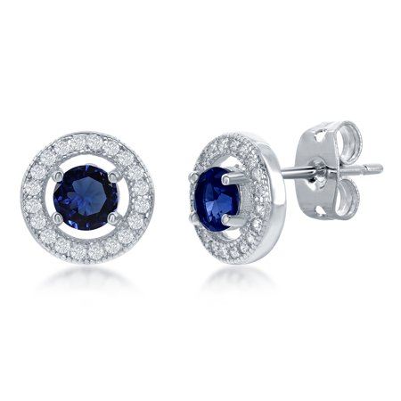 Silver Cubic Zirconia Micro Pave Setting Round Created Sapphire CZ 10mm Halo Stud Earrings