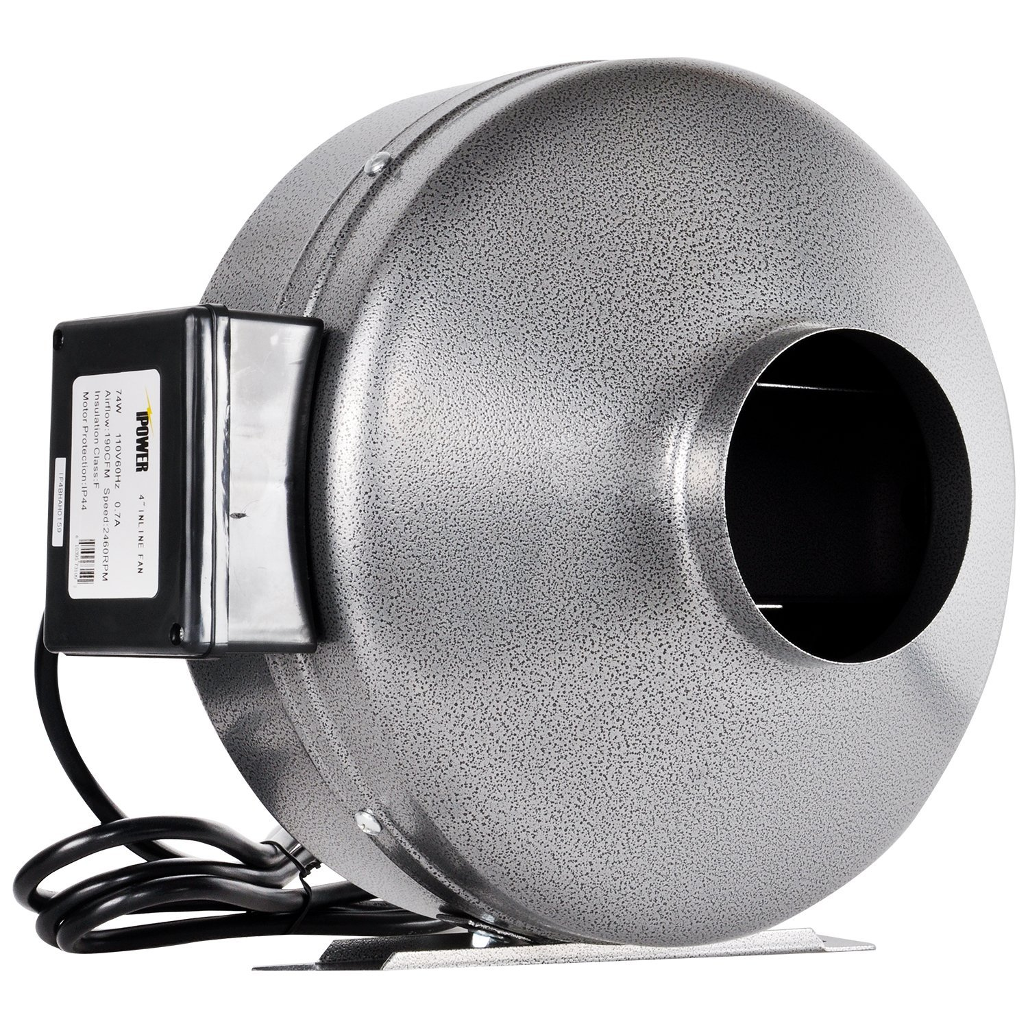 iPower 4 Inch 190 CFM Duct Inline Fan Vent Blower for HVAC Exhaust and Intake, Grounded Power Cord