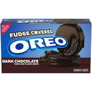 OREO Dark Chocolate Fudge Covered Sandwich Cookies, Dark Chocolate Flavored Creme, 1 Pack (9.9 oz.)