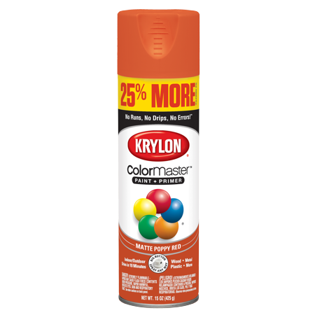 Krylon Colormaster Paint Primer Matte Poppy Red 15 Oz
