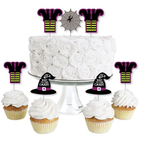 Happy Halloween - Dessert Cupcake Toppers - Witch Party Clear Treat Picks - Set of 24