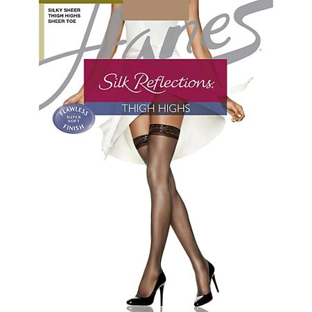 - Silk Reflections Thigh Highs, Reinforced Toe 3-Pack