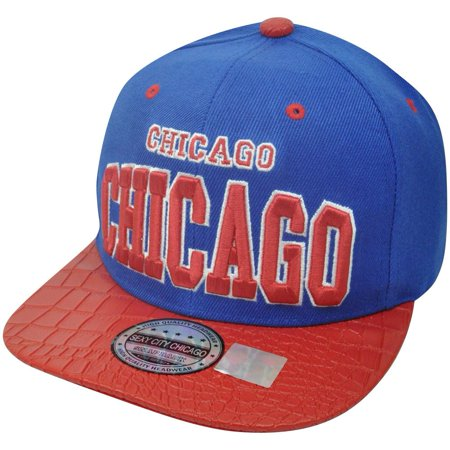 Blue Chicago Skin Faux Snake Animal Red Flat Bill Snapback Chi Town Hat Cap City