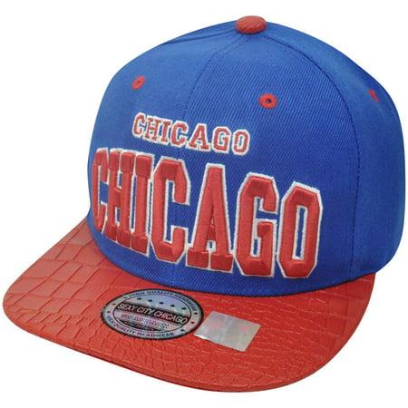 Animal Skin Hats (Blue Chicago Skin Faux Snake Animal Red Flat Bill Snapback Chi Town Hat Cap)