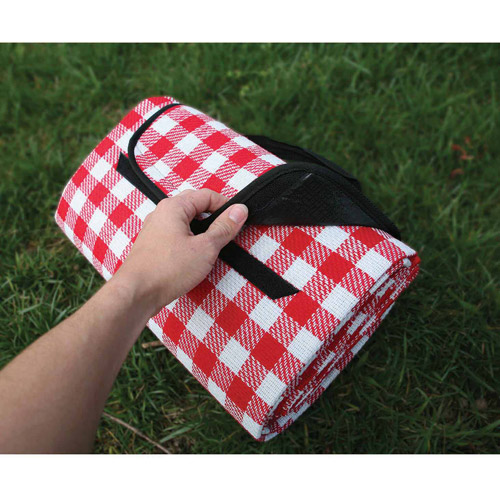 "Camco Picnic Blanket, Red and White Checkered, 51"" x 59"""