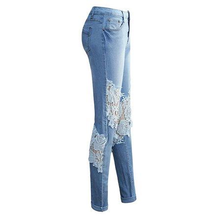 Mid Waist Denim Jeans for Women Lace Crochet Pencil Pants Stretchy Slim Fit Casual Skinny Trouser Pant