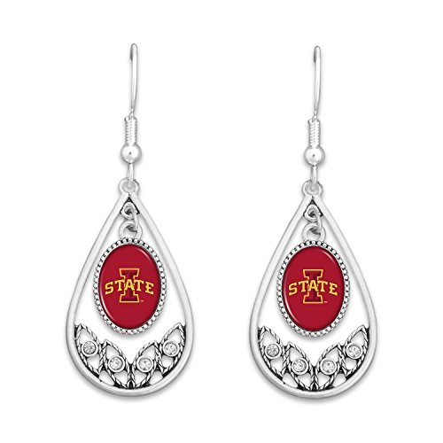 Iowa State Cyclones Logo Silver Tone Tear Drop Earrings with Rhinestones