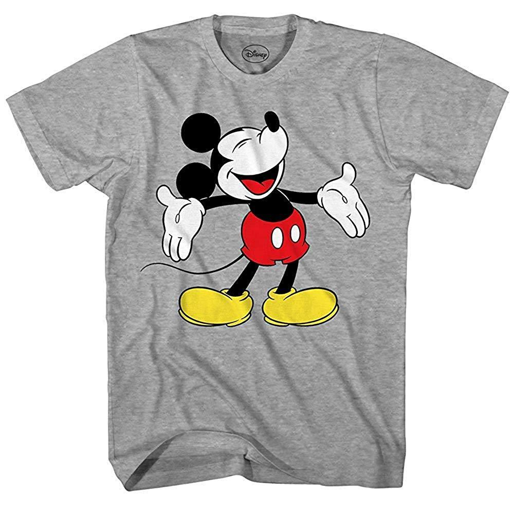Disney Mickey Mouse Laughing Disneyland World Funny Humor Pun Mens Adult Graphic Tee T-Shirt (Heather Grey)