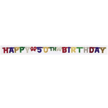 Creative Converting 290043 Jointed Banner, Sm Hpy 50Th Bday (Case of 12) (50th Bday)