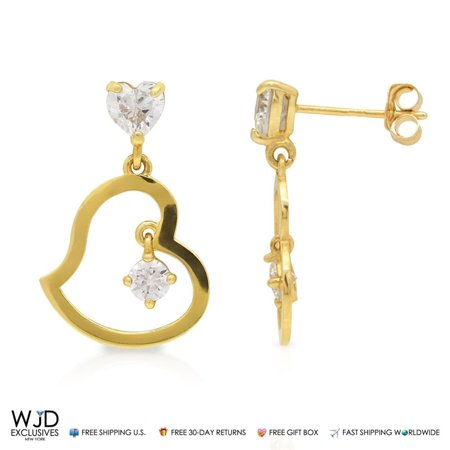 1Ct Created Diamond Heart Shape Dangle Stud Earrings 14K Real Yellow Gold 0.8