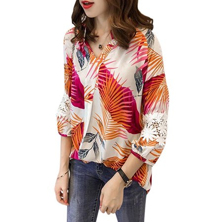 Funcee Plus Size Women Summer Lace Stitching Printed Lantern Sleeve Office Shirts Blouse (Printed Lantern Sleeve Shirt)