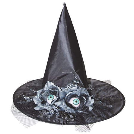 17in. Witch Hat with Eyes and Flowers Halloween Decoration